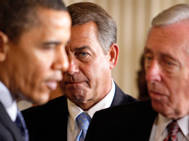 House Minority Leader John Boehner of Ohio (center) looks on as President Obama talks to House Majority Leader Steny Hoyer of Maryland. Obama has said he hopes for more bipartisanship next year, but Republicans see the coming election as a sign that Americans don't want Congress to sign on to the Obama agenda.