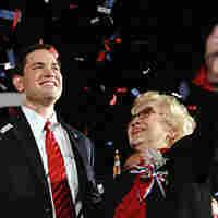 Republican Marco Rubio celebrates a victory