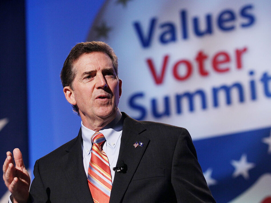 "Sen. Jim DeMint (R-SC) speaks at the Values Voter Summit in Washington, D.C., in September. DeMint has warned new conservative senators not to get ""co-opted"" or coerced by the establishment club."