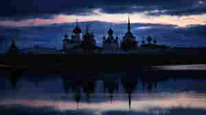 The walled Solovetsky monastery at dusk in Russia's remote Solevetsky Islands near the Arctic Circle