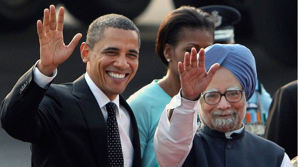 President  Obama and Indian Prime Minister Manmohan Singh in New Delhi on Sunday. New Delhi was his second  stop on a three-day visit to the world's largest democracy. Obama sought to reassure India of its importance as a defining partnership for the U.S. in the 21st century.