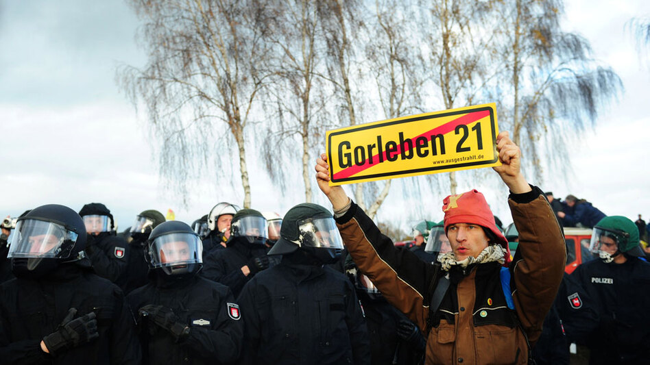 An anti-nuclear activist protests against the transport of nuclear waste to a disposal site in Gorleben in northern Germany. Protesters target the annual shipment, but this year's activities have taken on a new urgency after a government decision to extend the life of the country's 17 nuclear power plants.