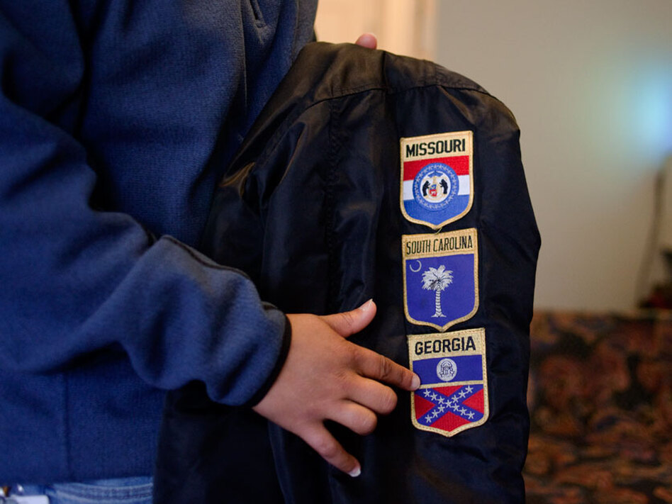 Cornish points to patches on her jacket -- she was born in Missouri, she did her basic Army training in South Carolina, and she completed her advanced individual training in Georgia.