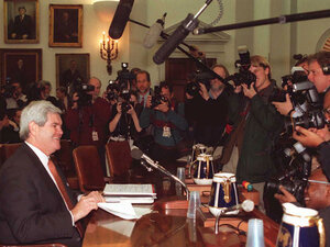 Jan. 5, 1995: New House Speaker Newt Gingrich talks to reporters on Capitol Hill.