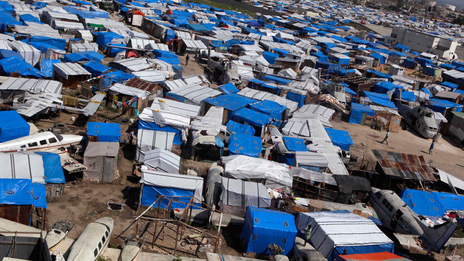 More than a million Haitians around Port-au-Prince remain in makeshift camps such as this one. Not only is housing scarce, so, too, are jobs.