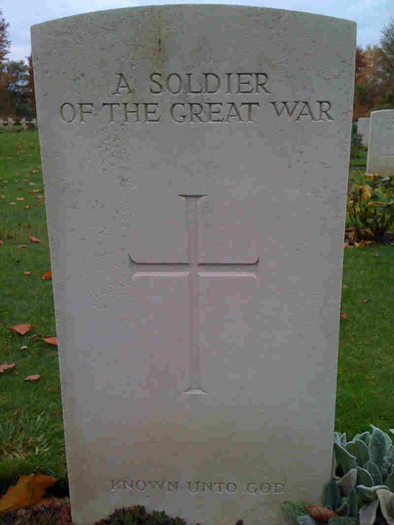 """A tombstone to one of the """"unknowns"""" at a military cemetery in France."""