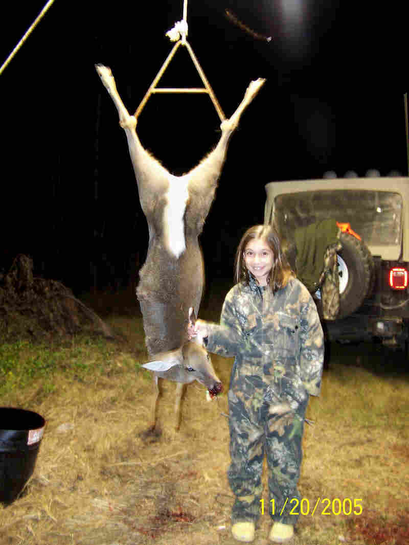 Magan shown with the first deer she killed