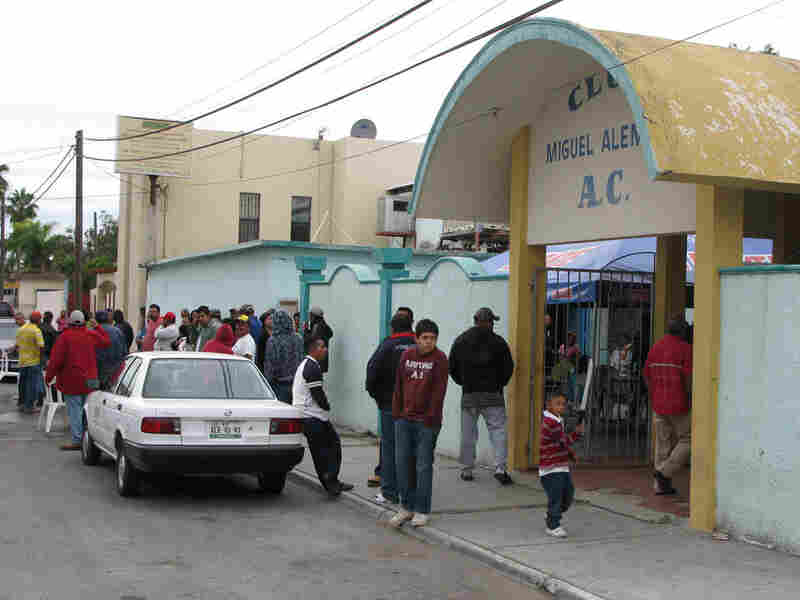 Refugees from Ciudad Mier at the Lions Club in Miguel Aleman