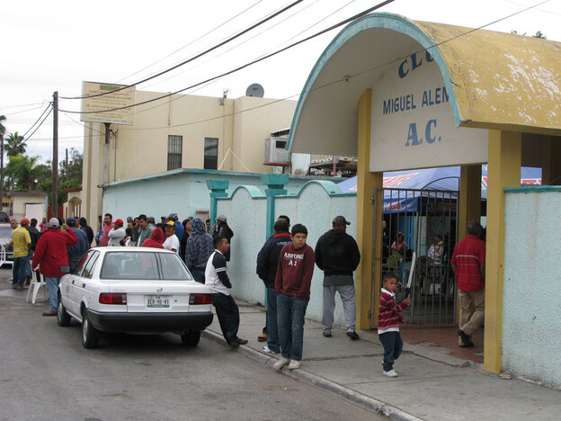 The roughly 300 families who fled Ciudad Mier have found shelter at the Lions Club in the nearby town of Miguel Aleman.