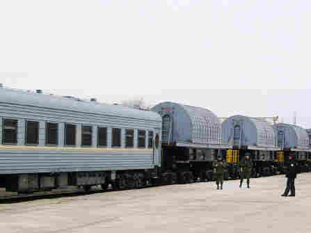 Trains carrying casks of radioactive material from Atkau to an undisclosed location in northeast Kazakhstan