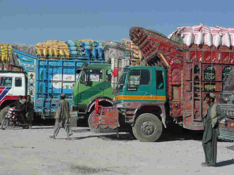 Trucks at the border between Afghanistan and Pakistan near Spin Boldak in Kandahar province