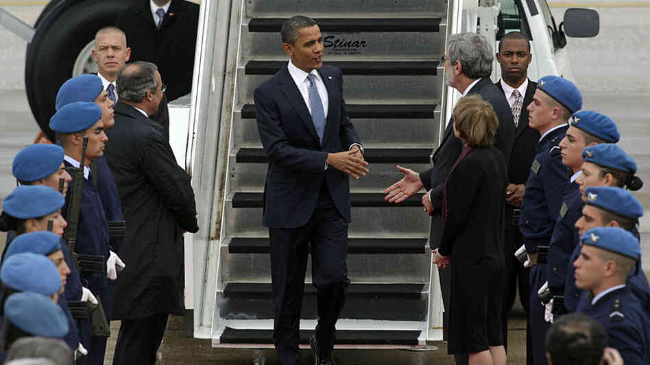 President Obama arrives in Lisbon, Portugal, for a NATO summit.