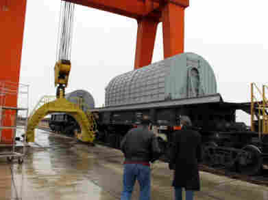 Specially designed secure rail cars shipped spent fuel from Aktau.