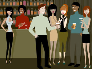 People mingle at a cocktail party.