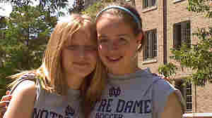 Megan Lindsey (right) and her friend Alexandria Bodfish arrive at soccer camp at University of Notre Dame.
