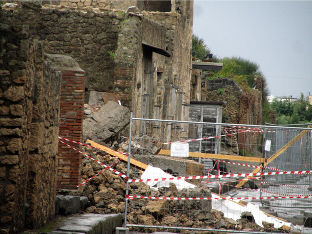 Debris at the scene of the House of the Gladiators in Pompeii, Italy.