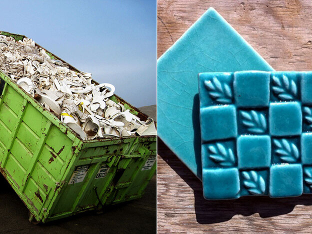 Tiles made from recycled materials