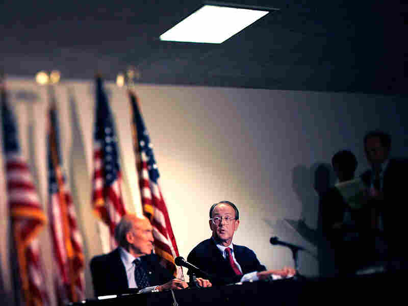 Debt commission co-chairmen former Sen. Alan Simpson (left) from Wyoming, and Democrat Erskine Bowles