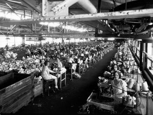 Workers in an Endicott Johnson factory in 1930.