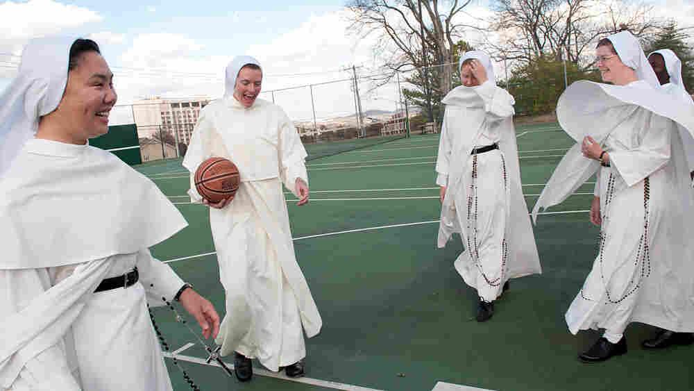 Nuns playing basketball