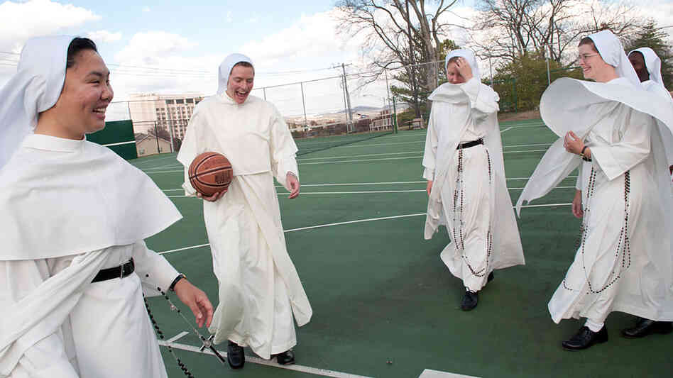 Nuns playing basketball