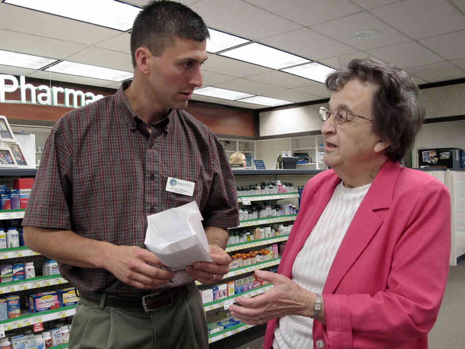 Shane Wendel, a pharmacist and owner of the Central Pharmacy in New Rockford, N.D., speaks to Marvel Ebenhahn.
