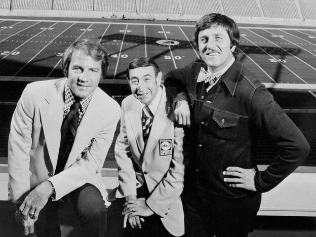 L-R: Frank Gifford, Howard Cosell and Don Meredith.