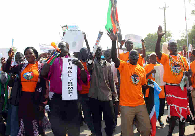 Southern Sudanese in Juba march in support of the independence referendum
