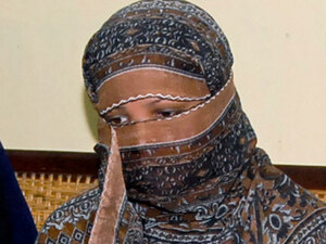 Asia Bibi at a prison in  Sheikhupura, near Lahore, on Nov. 20.  She appeared in a televised interview from her prison, tearfully denying the blasphemy charges that led to her death sentence.
