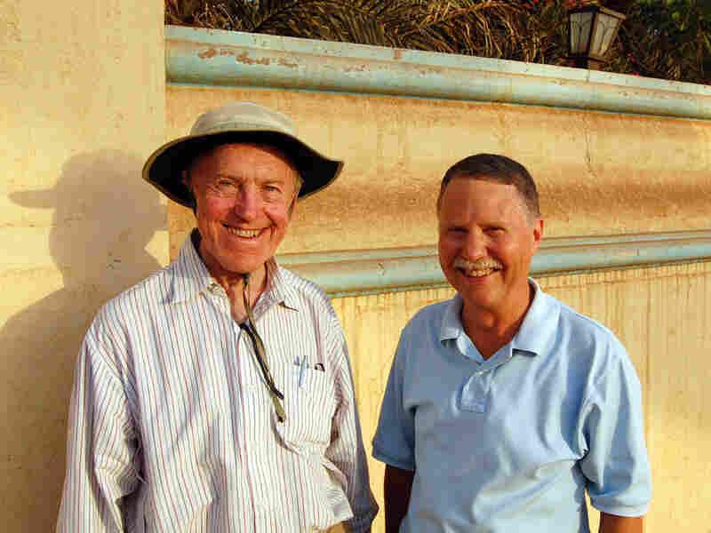 Robert Bonifas and Don Parrish on the road in Khartoum, Sudan.