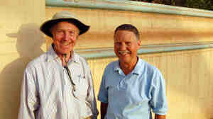 Robert Bonifas and Don Parrish on the road in Khartoum, Sudan.