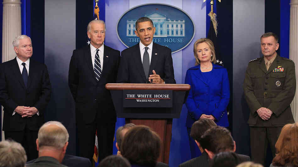 Secretary of Defense Robert Gates (from left), Vice President Biden, President Obama, Secretary of State Hillary Clinton and Joint Chiefs of Staff Gen. James Cartwright