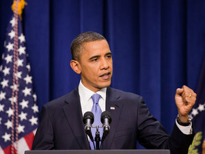 President Obama clenches a fist while making a point at his news conference Wednesday