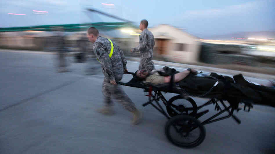 U.S. soldier is brought to the emergency room at Bagram Air Field's hospital.