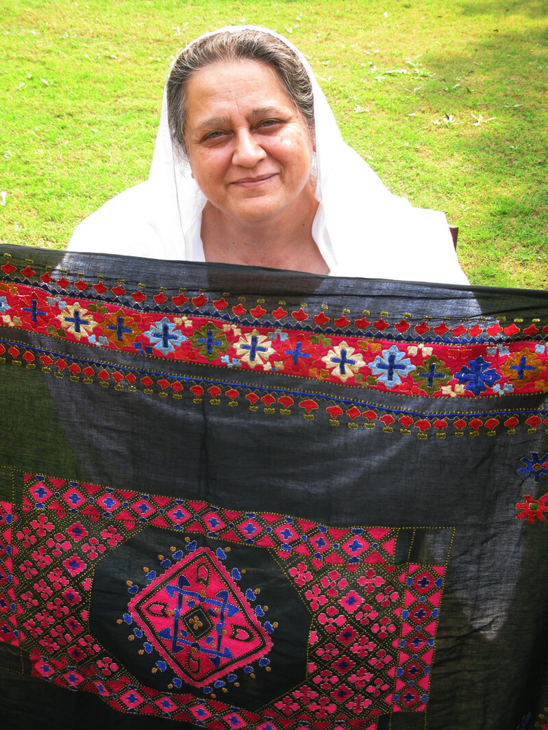 Princess Mussarat Ahmed Zeb Displays A Piece Of Traditional Swati Embroidery From Her Collection The Happy Colors Are Part