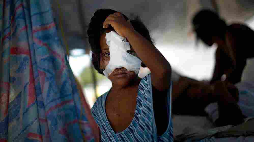 A young, wounded girl in Port-au-Prince, Haiti