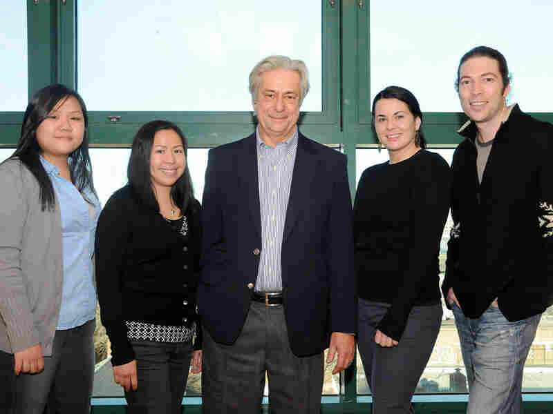 John Chaffee, philosophy department chair at LaGuardia Community College, with several students.