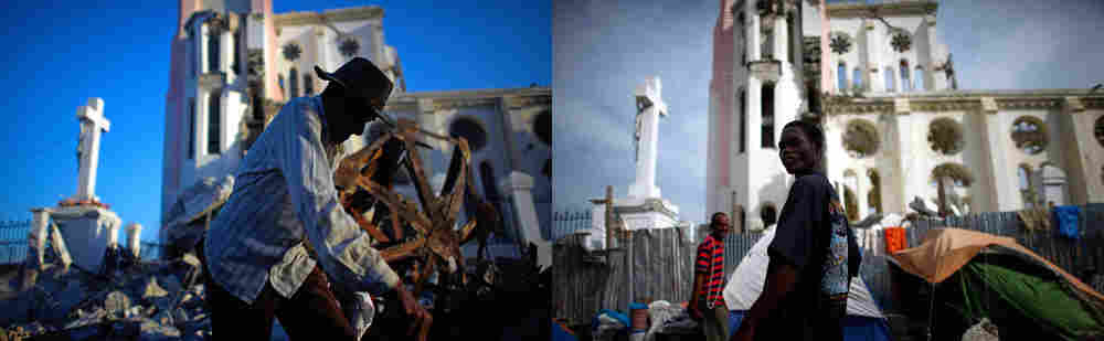 A Haitian man walks past Our Lady of Assumption Catholic Church, in complete ruins in downtown Port-au-Prince on Jan. 17, 2010. Very little has changed and no demolition has taken place, as seen in this Jan. 8 image.