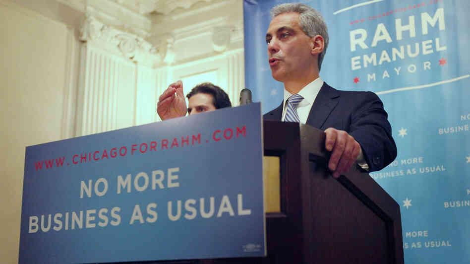 Former White House Chief of Staff and candidate for Mayor of Chicago Rahm Emanuel holds a press conference on Dec. 2, 2010 in Chicago, Ill.