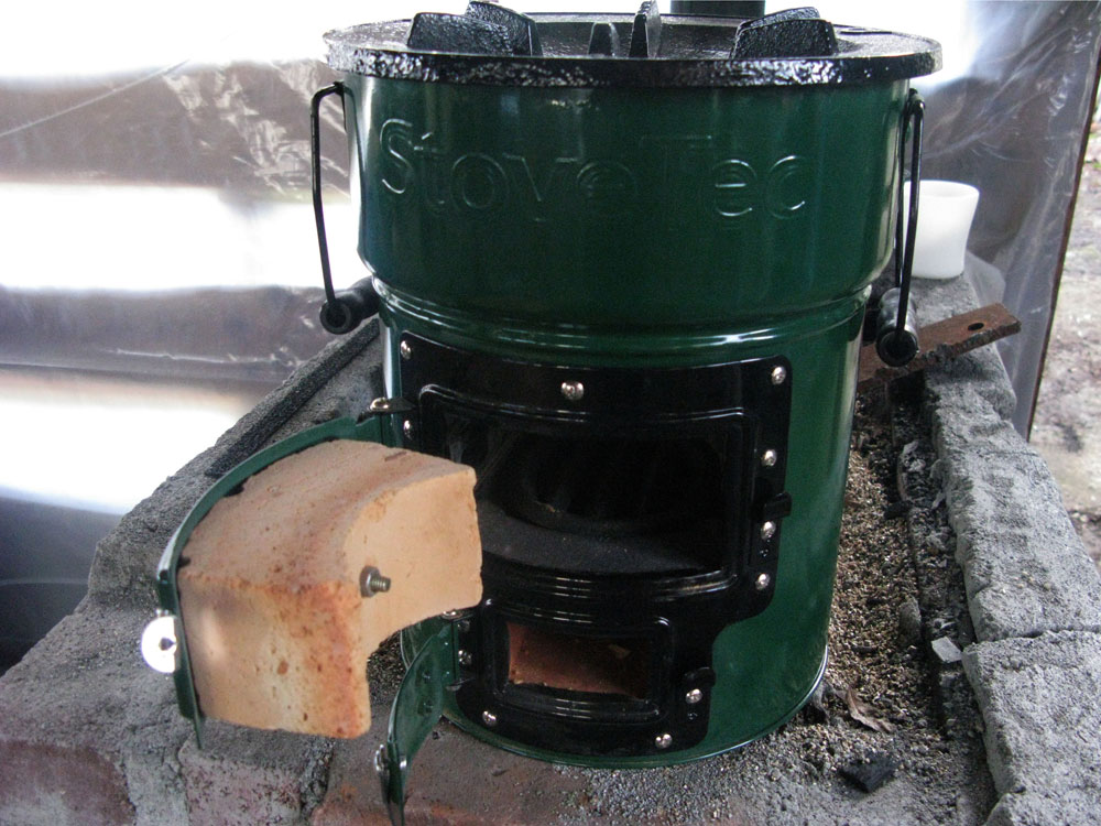 The rocket stove is built and sold by StoveTec, a spinoff of Aprovecho.