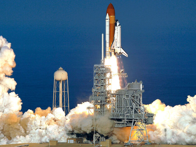 Space shuttle Discovery lifts off at Kennedy Space Center in Cape Canaveral, Fla., on Thursday for the final time. The world's most traveled spaceship is heading toward the International Space Station with a crew of six on a journey that marks the beginning of the end of the shuttle era.