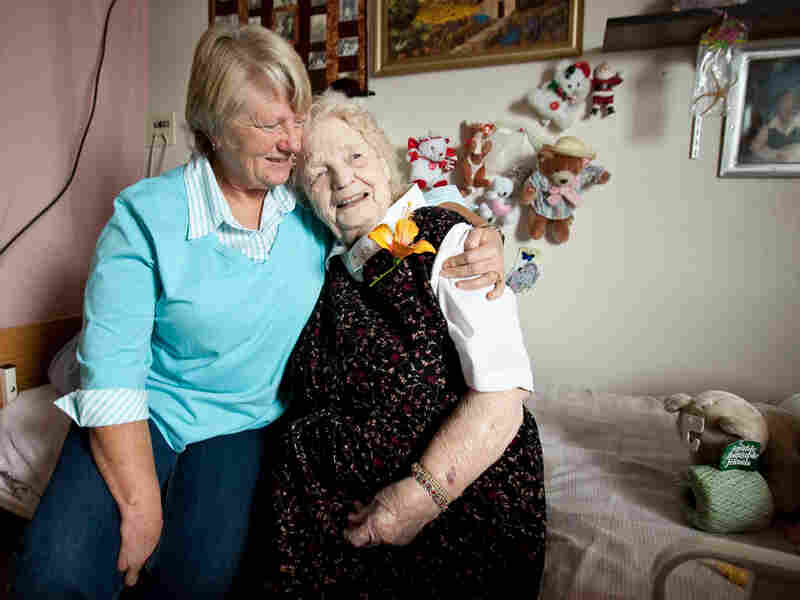 Gracie Scarrow, 94, with her daughter Lela Petersen in the nursing home where Scarrow lives.