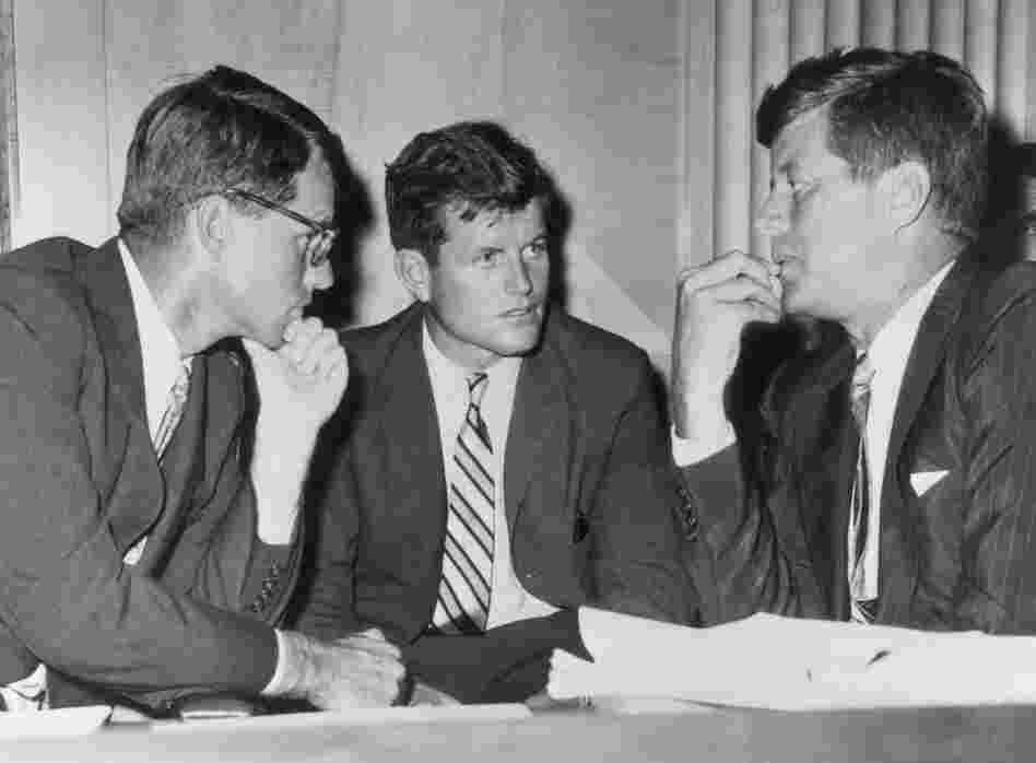 Attorney General Robert Kennedy, Sen. Edward Kennedy and President John F. Kennedy in 1962