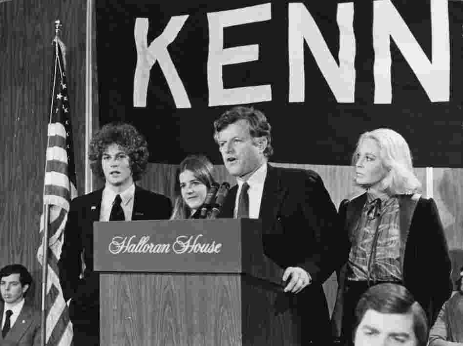 March 1980: Sen. Edward Kennedy with his wife, Joan, and children Teddy and Kara