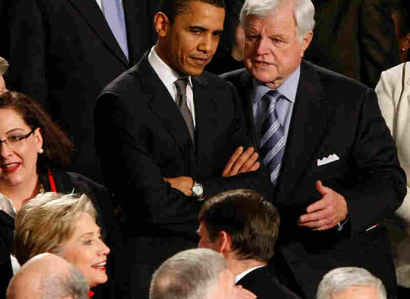 January 2008: Presidential hopeful Sen. Barack Obama (D-IL) confers with Sen. Edward Kennedy (D-MA).