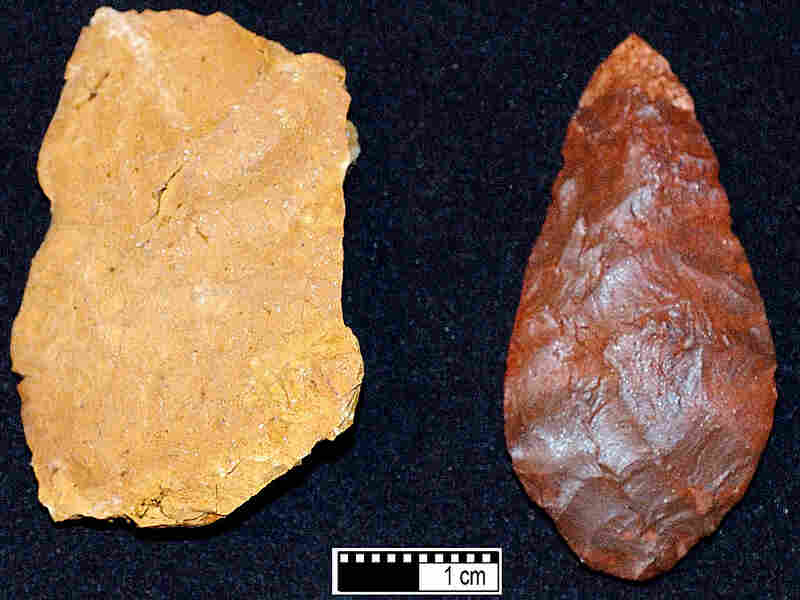 Early humans may have used heat to transform silcrete (left) into sharp tools (right).