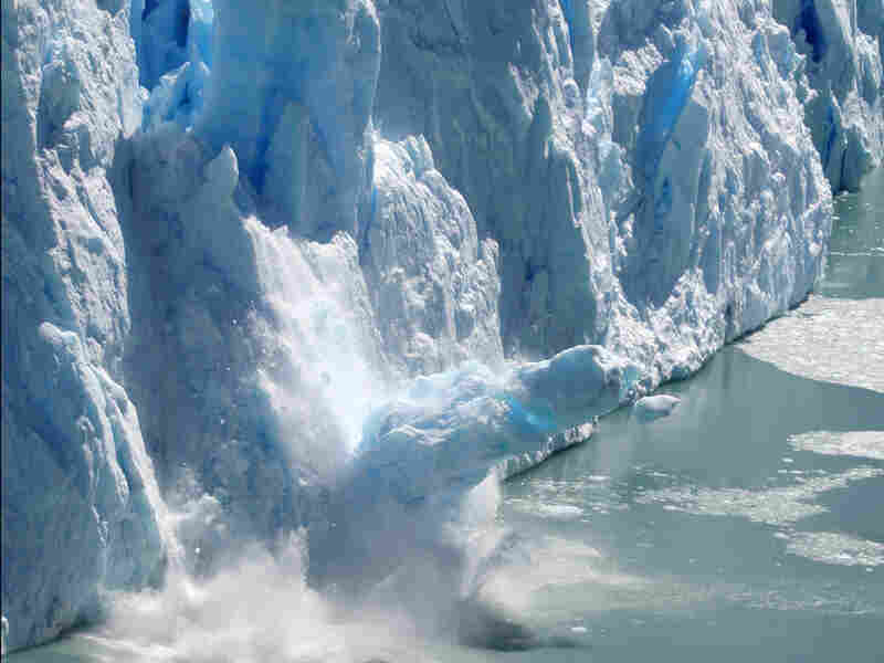 A glacier in Patagonia, Argentina, reaches its tipping point and calves.