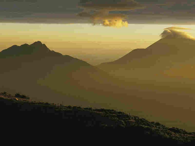 Rwanda volcanoes at twighlight