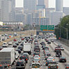A file photo shows traffic crawling through downtown Atlanta along Interstate 75/85 during rush hour