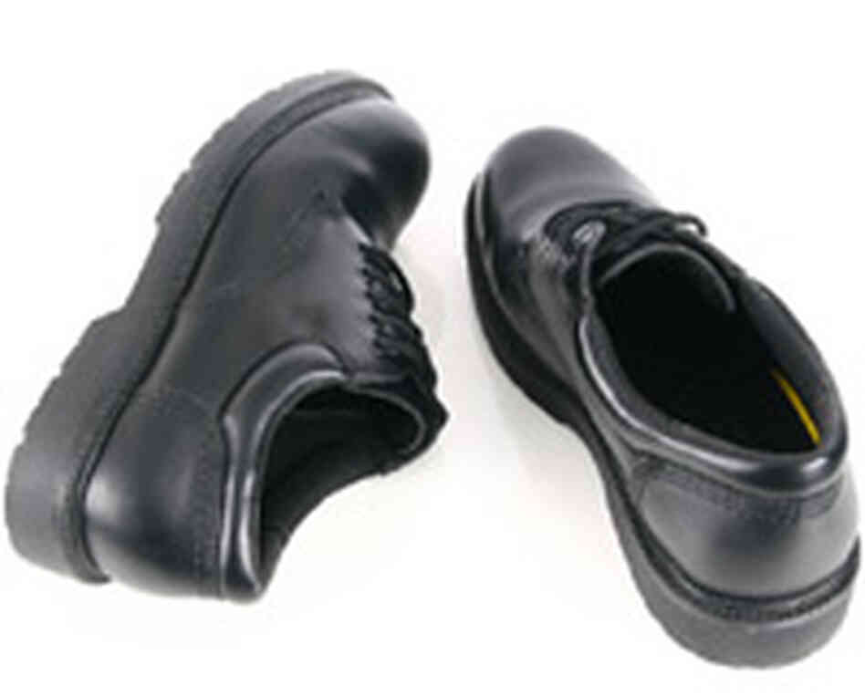 A shiny pair of black shoes.